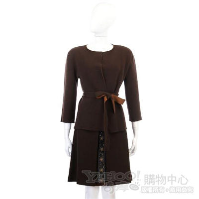 BLANCS MANTEAUX 深咖啡色花條飾及膝裙