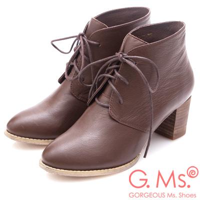 G.Ms. 牛皮優美楦頭綁帶粗跟短靴-咖啡