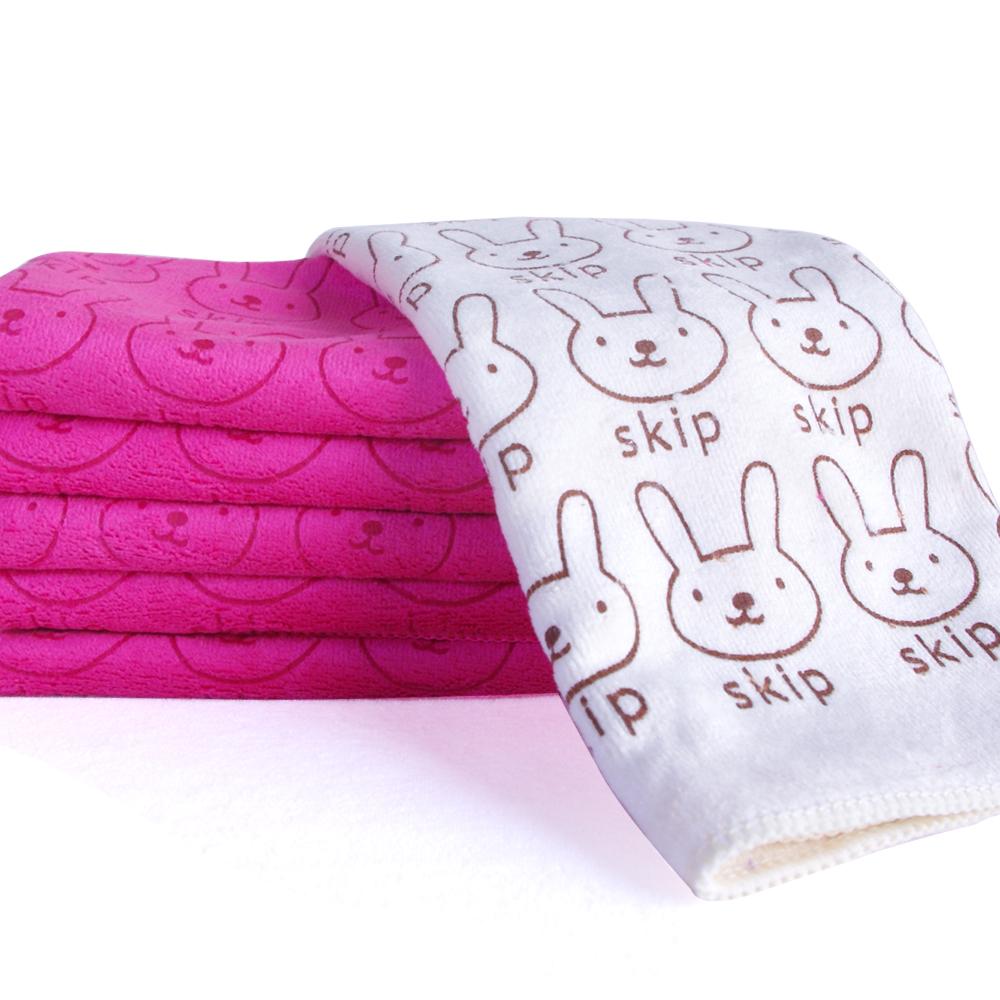 加厚超細超吸水棉柔兔子印花小方巾10條