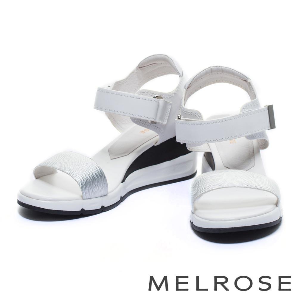 涼鞋 MELROSE 異材質拼接一字造型楔型休閒涼鞋-銀白