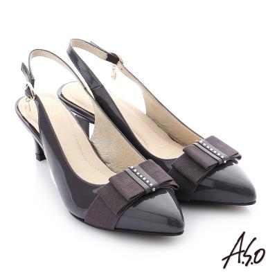 A.S.O 個性美型 全真皮蝴蝶結水鑽奈米高跟鞋 灰色