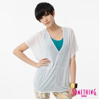 SOMETHING 長版T V領剪接長版T恤-女-白色