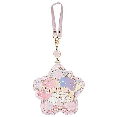 Sanrio 雙星仙子 PU皮革造型拉繩伸縮車票套(粉彩星星)