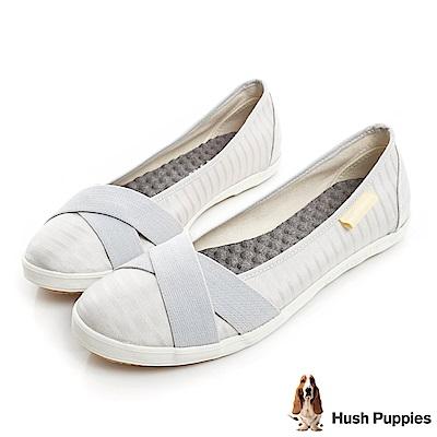 Hush Puppies 低奢緞面咖啡紗交叉帶娃娃鞋-銀灰
