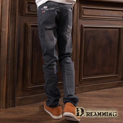 Dreamming 經典布章刷色伸縮小直筒牛仔褲