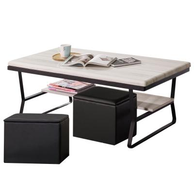 Bernice-安里4尺工業風石面大茶几(附收納椅凳)-120x60x49cm