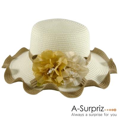 A-Surpriz 花漾美人波浪邊遮陽帽 米白淺咖邊