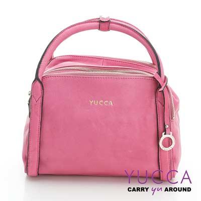 YUCCA - 牛皮立體甜美波士頓包 -粉紅色- D0112025