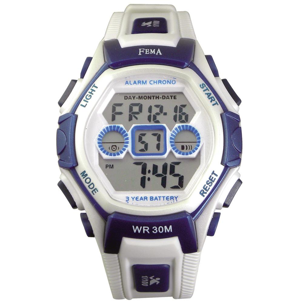 FEMA 個性城市 計時鬧鈴 數位休閒錶(P251G)-白/34mm