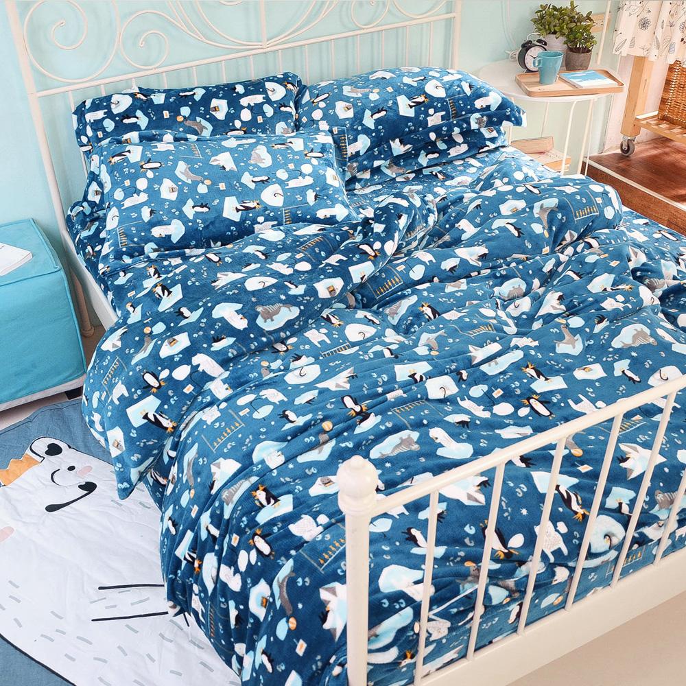 絲薇諾  海洋寶貝 單人三件式-極致保暖法蘭絨床包被套組