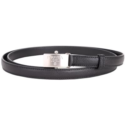 PRADA Saffiano 銀色方型扣頭防刮牛皮窄版腰帶(黑色)