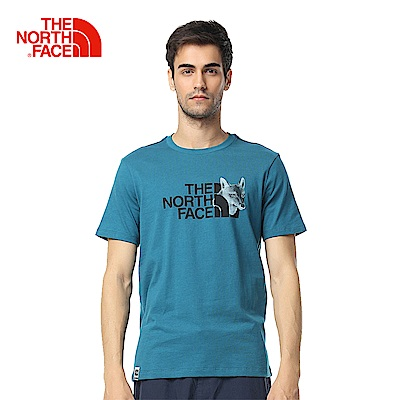 The North Face北面男款藍色舒適透氣短袖T恤