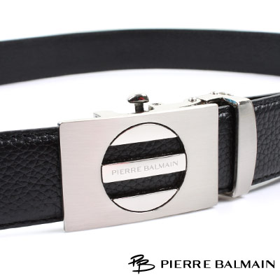 PB 皮爾帕門-經典方框內圓簍空霧亮Logo款-頭層牛皮自動扣皮帶-706