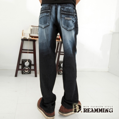 Dreamming 造型口袋刷白伸縮中直筒牛仔褲