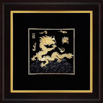 金箔畫 黃金畫純金 ~ 祥龍獻瑞(右幅) 飛黃騰達純金龍