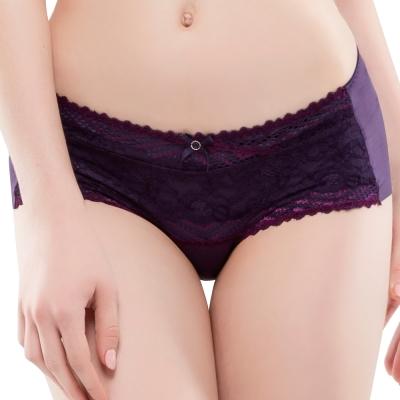 思薇爾 撩波系列M-XL蕾絲中低腰平口內褲(皇家紫)
