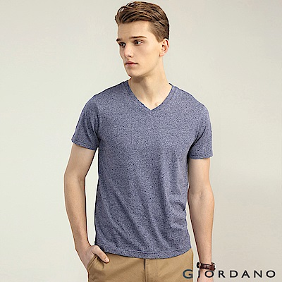 GIORDANO 男裝棉質V領素色短袖T恤-08 雪花靛紫藍