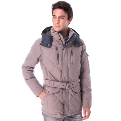 【hilltop山頂鳥】男款超撥水保暖蓄熱羽絨長大衣F22MU5卡其