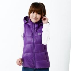 【遊遍天下】中性款JIS90%羽絨連帽防風防潑水羽絨背心A015深紫
