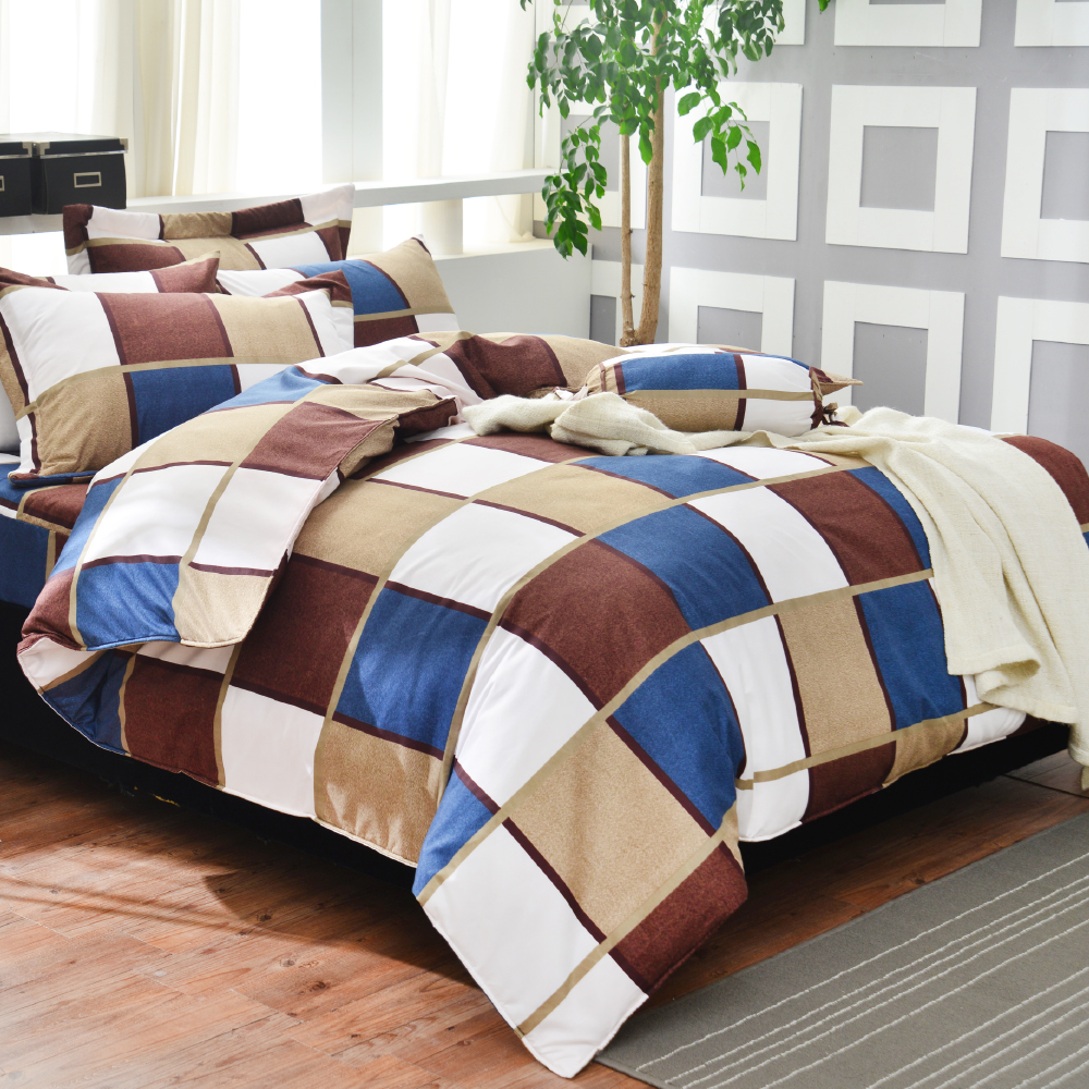 Goelia 魔術方塊 單人 活性印染超細纖 全鋪棉床包兩用被三件組