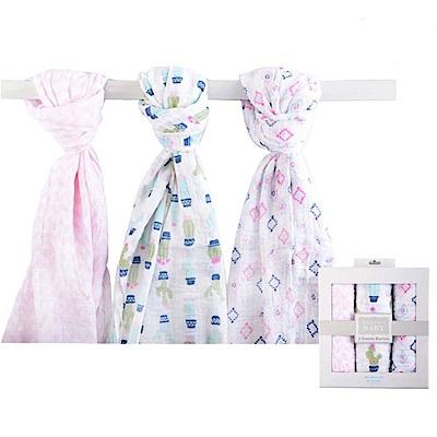 Luvable Friends 菱格仙人掌棉紗包巾3件彌月禮盒組