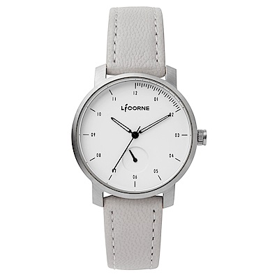 LICORNE MYO系列 精工品味經典簡約手錶 白黑x淺灰/38mm