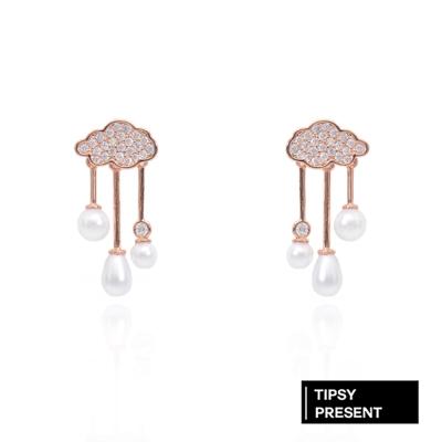 微醺禮物 耳環 正韓 銀針鍍K金 偶陣雨 鑲鋯石珍珠垂墜 不對稱