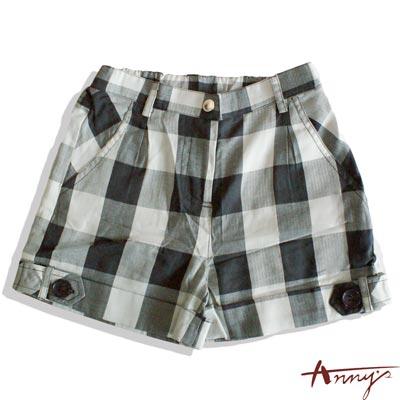 休閒格紋鈕扣反褶短褲*2325灰