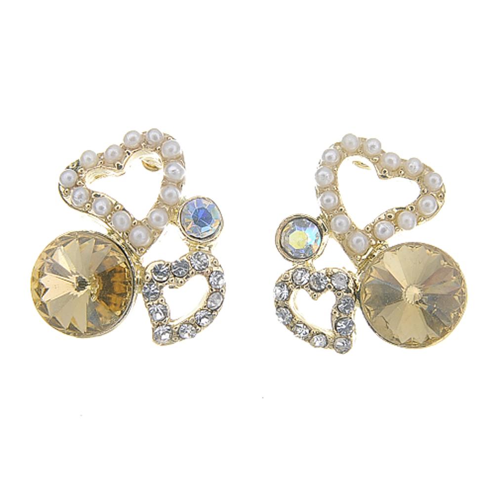 Aimee Toff 雙心閃耀溫暖銅金耳環