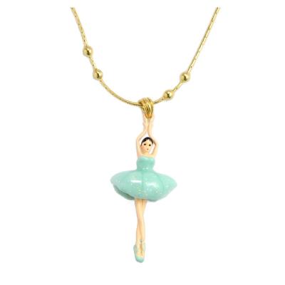 Les Nereides 優雅芭蕾舞女孩系列 淺綠澎澎裙女孩金色項鍊