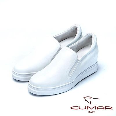 CUMAR舒適樂活嚴選真皮內增高休閒鞋-白