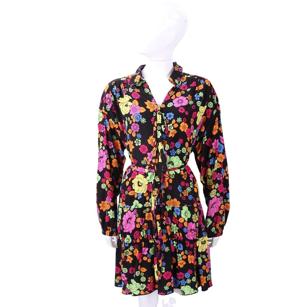BOUTIQUE MOSCHINO 多彩花朵印花黑色襯衫式長袖洋裝