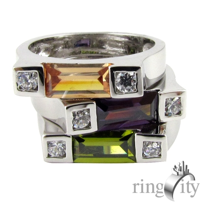 RingCity 黃綠紫三色鋯石三環造型戒