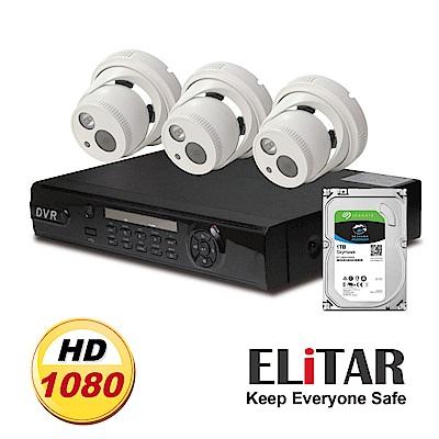 Elitar4路監控主機Sony3鏡頭1TB監控鷹