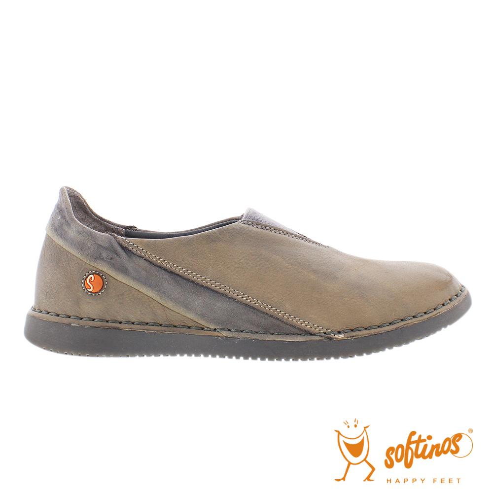 SOFTINOS (女) 拼接牛皮休閒鞋-棕