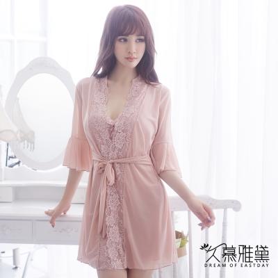 情趣睡衣 甜美誘惑浪漫蕾絲三件式睡衣組。膚色 久慕雅黛