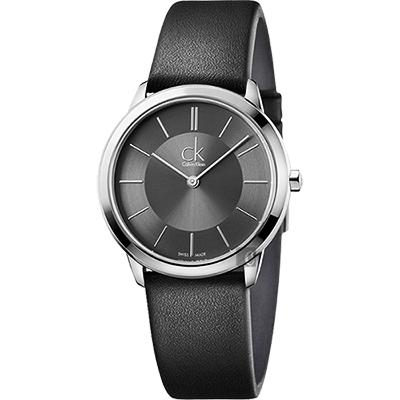 Calvin Klein CK Minimal 極簡都會女錶-灰x黑/ 35 mm