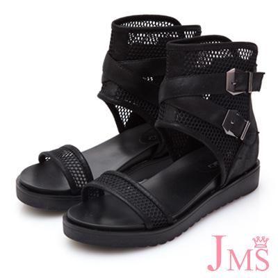 JMS-透膚網紋小心機內增高羅馬涼鞋-黑色