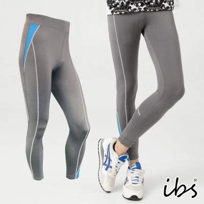 ibs超彈力塑型運動內搭長褲-男-灰配藍