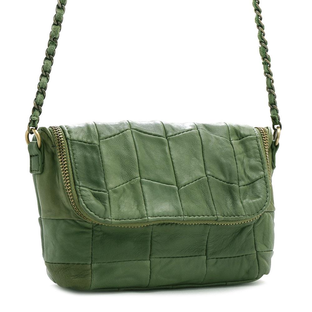 ANNA DOLLY 羊皮鍊帶斜背包 Leather系列 個性綠