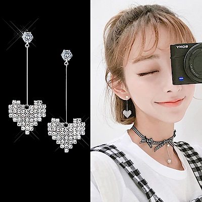 梨花HaNA 無耳洞韓國925銀少女心滿滿的愛心閃耀長耳環夾式