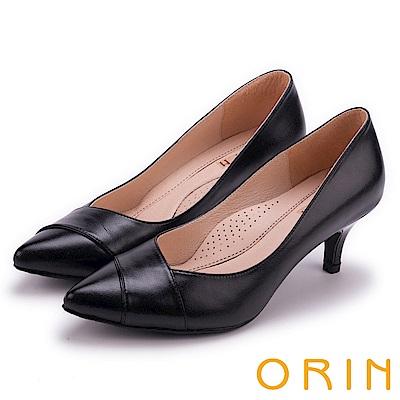 ORIN 典雅名媛 素面造型剪裁羊皮百搭尖頭高跟鞋-黑色