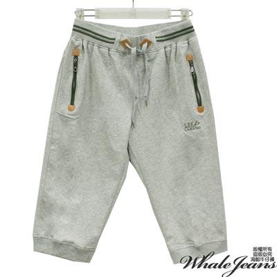 WHALE JEANS 男款運動風範仿牛皮拉鍊腰伸縮束口中短棉褲-2色