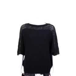Andre Maurice 100%CASHMERE 黑色織花拼接飛鼠袖設計毛衣