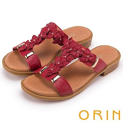 ORIN 夏日風情 花朵造型排列T字牛皮拖鞋-紅色