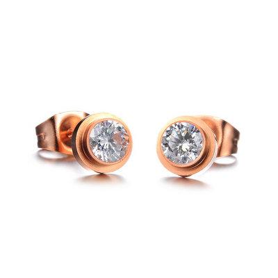 ACUBY-鋼製玫瑰金單鑽極簡耳環