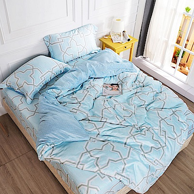夢工場 徜徉海洋天絲頂規款兩用被鋪棉床包組-加大