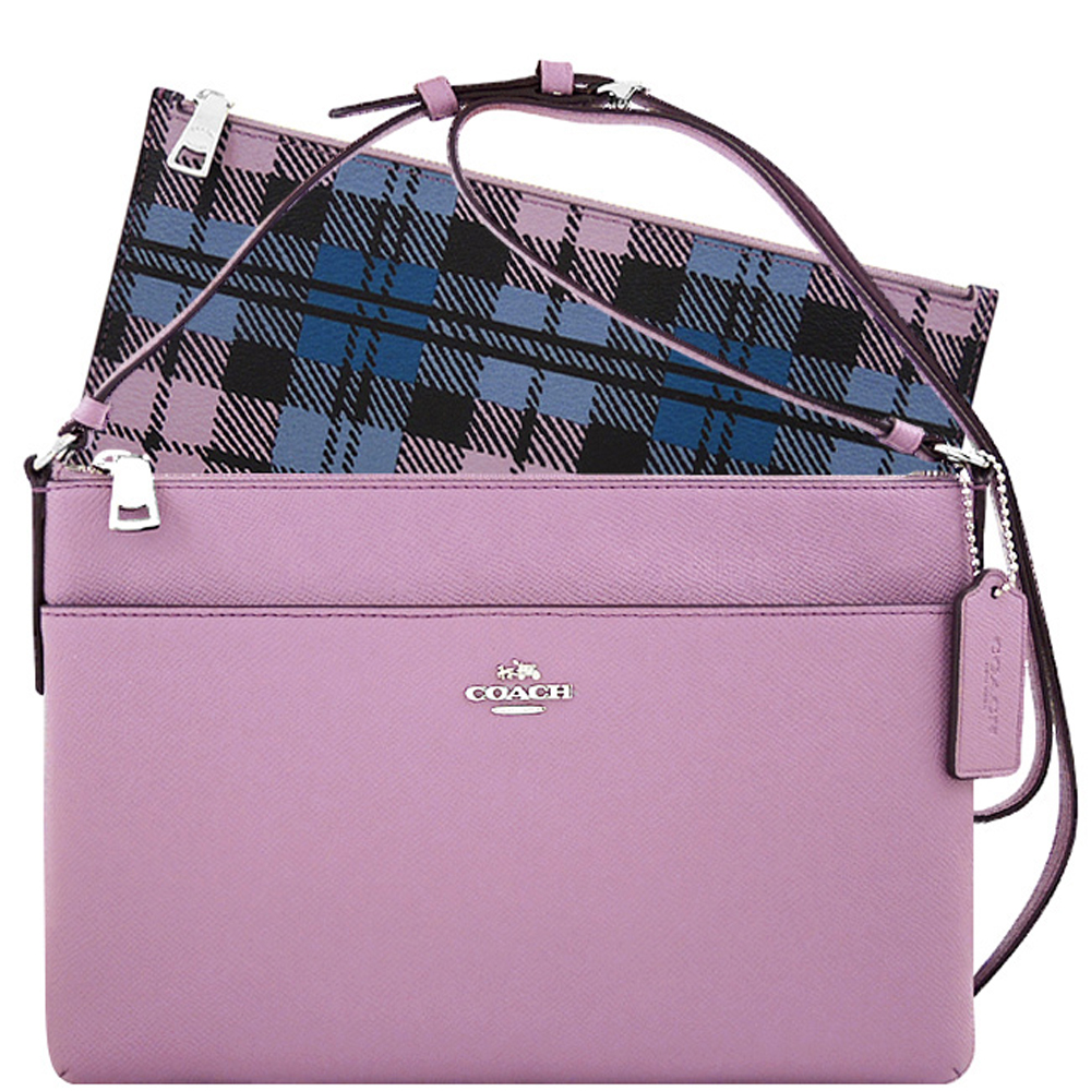 COACH粉紫色防刮皮革斜背包-附可拆長夾