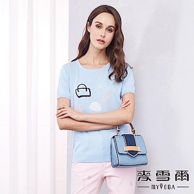 麥雪爾 純棉時尚包包愛心鑽針織-水藍- 動態show