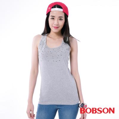 BOBSON  女款搭配蕾絲鋁片背心-灰色